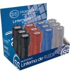 Linterna plastica 9leds c/pilas incluida de marca caja de 12