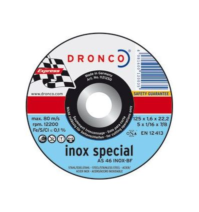 Disco dronco as46inox 125x1,6x22,2 c.met de dronco caja de 25