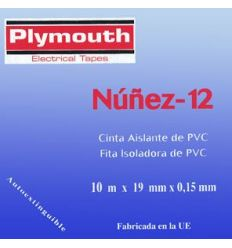 Cinta aislante pvc 5070-10mx19mm negra de plymouth caja de 10