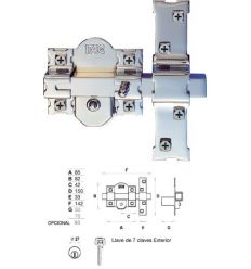 Cerrojo 01187 201-r/80 50mm niquel/do. de fac