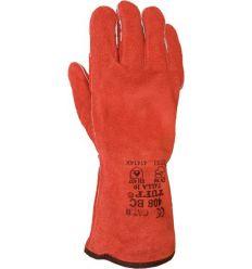 Guante soldador rojo forrado 408 bc de juba caja de 6 unidades