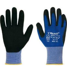 Guante nylon/nitrilo pu h4115 talla-08 azul/negro de juba caja de 10 unidades