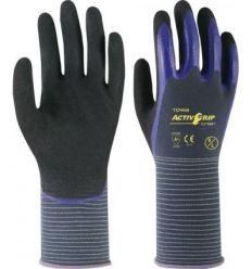 Guante nylon activgrip cj568 talla-8 gris/azul de juba caja de 6 unidades