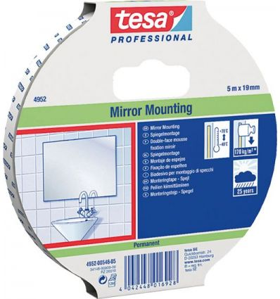 Cinta doble cara espejos 4952-05mx19mm blanco de tesa-tape