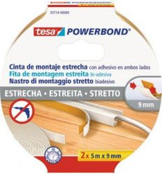 Cinta doble cara powerbond 55714-5mx9mm 2pz de tesa-tape