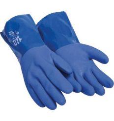 Guante 666vinil quimico pvc talla-07 azul de tomas bodero caja de 10 unidades