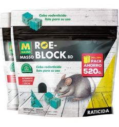 Raticida roe-block 231535 2x1 260g + 260g de roe