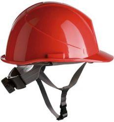 Casco obra con rosca apriete dorsal + barbuquejo 80534 rojo de safetop