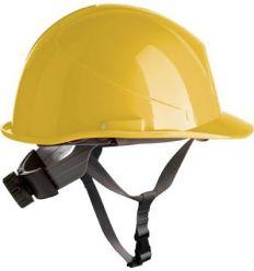 Casco obra con rosca apriete dorsal + barbuquejo 80532 amarillo de safetop