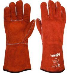 Guante soldador rojo forrado h408 de juba caja de 12 unidades