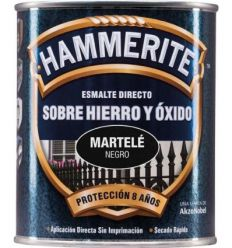 Hammerite metalico martele 750ml negro de hammerite caja de 6 unidades