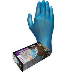 Guante desechable vinilo 550b talla m azul c100 de juba