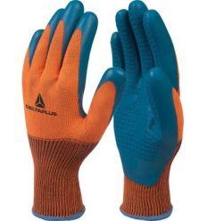 Guante poliester/latex ve733 talla 08 naranja/azul de deltaplus caja de 12 unidades