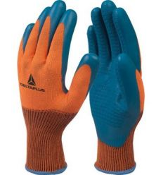 Guante poliester/latex ve733 talla 09 naranja/azul de deltaplus caja de 12 unidades